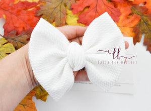 Large Julia Messy Bow Style Bow || White