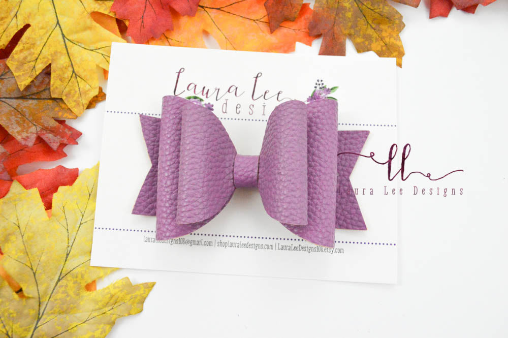 Large Stacked Sabrina Style Bow || Wisteria Vegan Leather