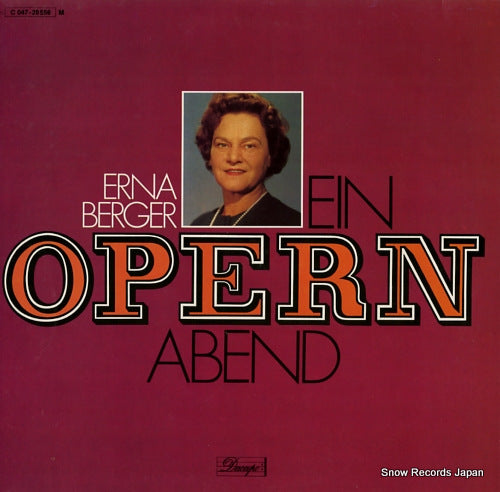 BERGER, ERNA - ein opernabend - 1C047-28556 - Snow Records Japan