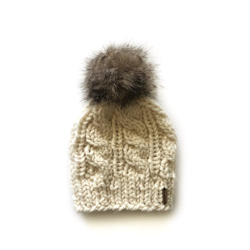 Irving Cable Hat Faux Fur Pom