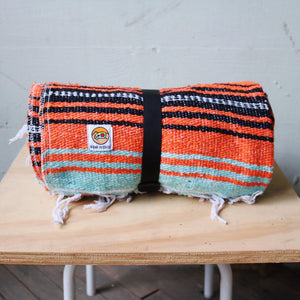 Woven Blanket - Cyan & Orange