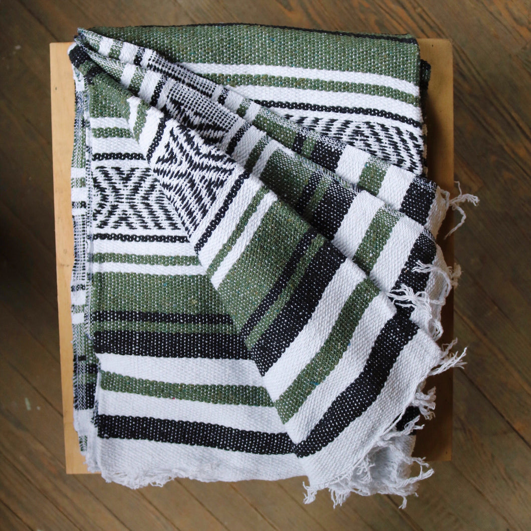 Woven Blanket - Forest Green & Black