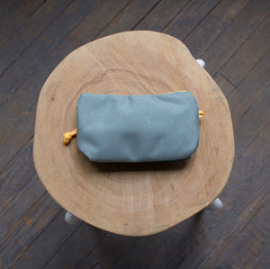 Small Zipper Pouch - Cyan & Silver