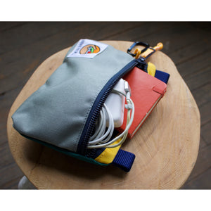 Large Zipper Pouch - Cyan & Silver