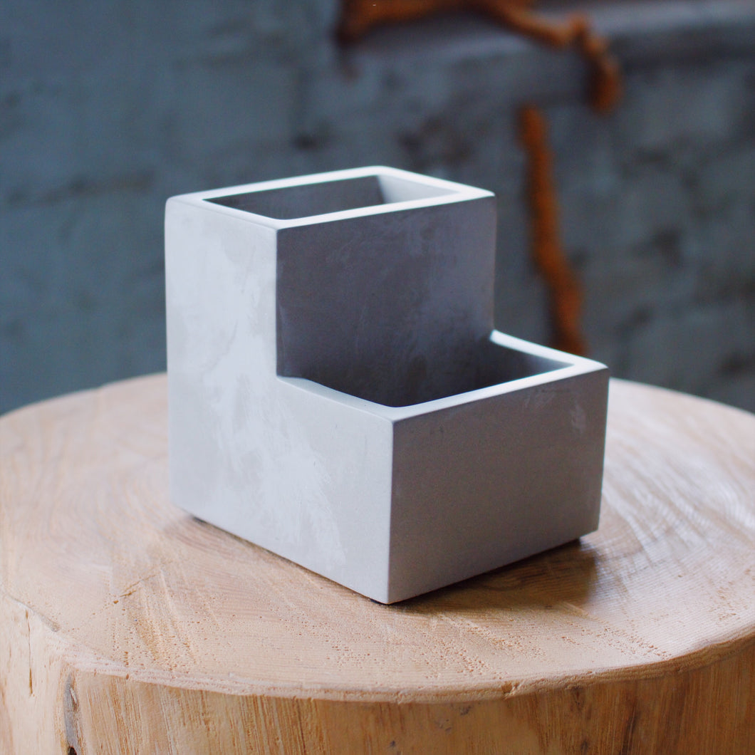 Concrete Desktop Planter & Pen Holder