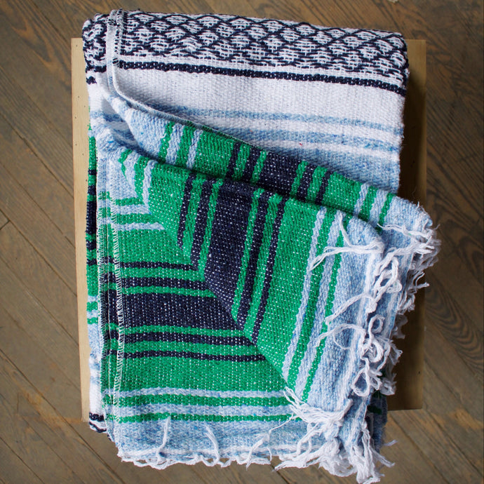Woven Blanket - Cactus & Baby Blue