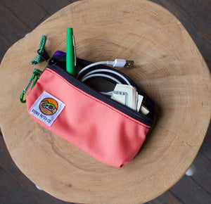 Small Zipper Pouch - Peach & Moss
