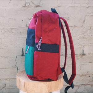 The Commuter Backpack- Maroon & Cyan