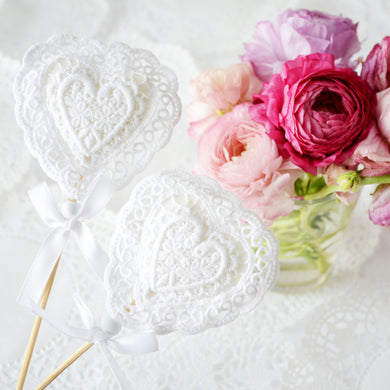 Lace heart wedding decoration