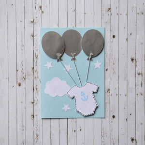 3D Baby Announcement Card - Baloons and Onesie