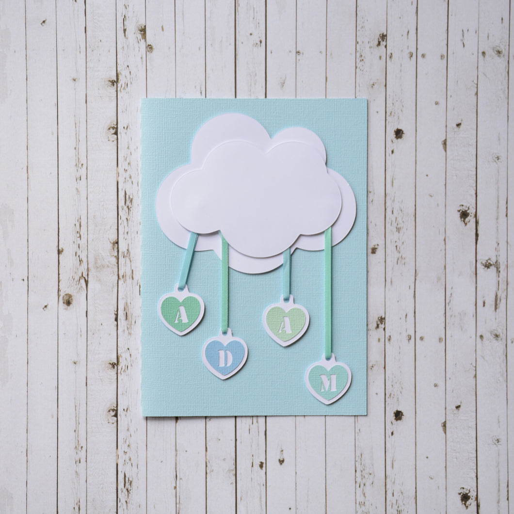 3D Baby Announcement Card - Raindrops