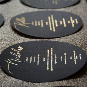 Personalised Round Black Foiled Menu - Plate cover