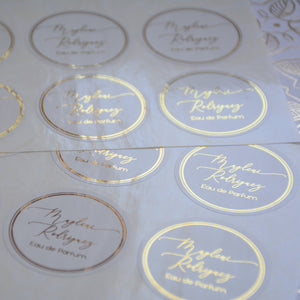 Personalised Round Foiled Sticker (Glossy Off White)