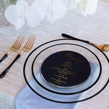 Personalised Round Black Menu With Foil