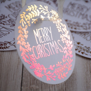 Personalised Round Ombre Foiled Christmas swing tag (250 gsm)