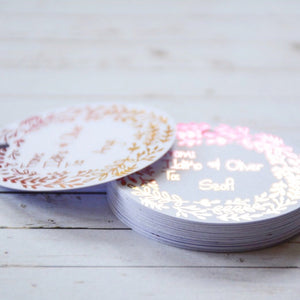 Personalised Round Ombre Foiled Paper Tag, Swing Tag (160 gsm)