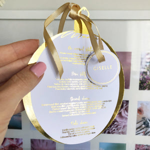 Christmas Bauble Personalised Round Gold Foiled Menu - Plate cover