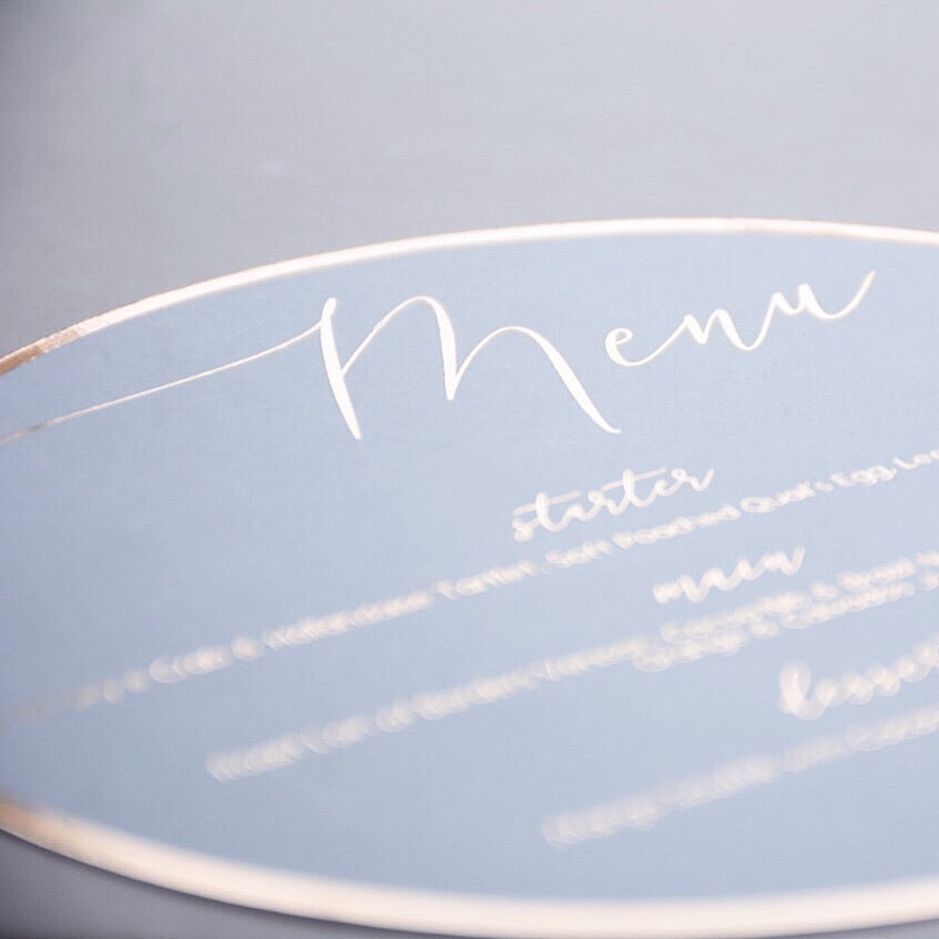 Personalised Round White Gold Foiled Menu - Plate cover