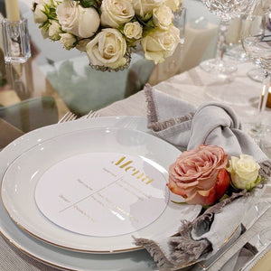 Elegant Personalised Round White Gold Foiled Menu - Plate cover