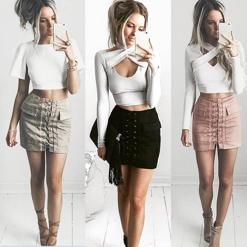 Suede Preppy Pencil Skirt