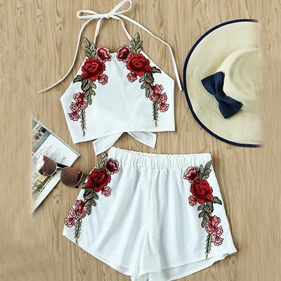Embroidered Vintage Two-Piece Set