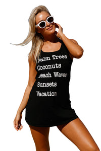 Black Graphic Tank Swim Cover Up