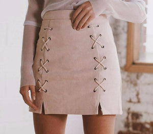 Autumn Lace-Up Pencil Skirt