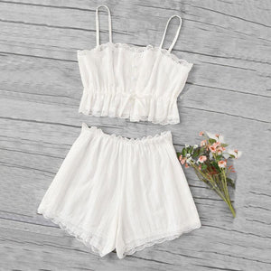 Sexy Lace Trim Cami Two-Piece Set