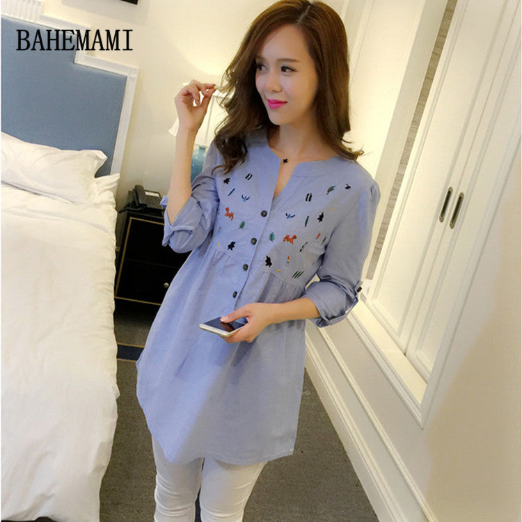 BAHEMAMI Pleated Pregnancy Shirt All Sizes