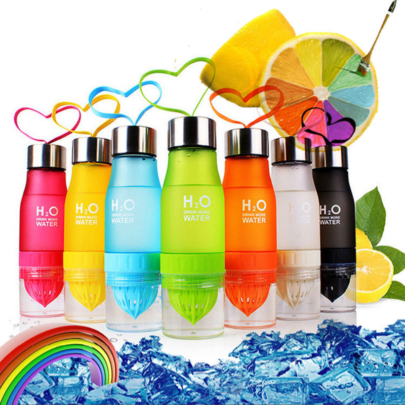 650ml Plastic Water Bottle Lemon Deposit In 7 Colors