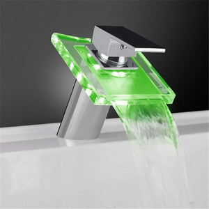 COLOR CHANGING SINK GLASS FAUCET - WASH YOUR HANDS WITH STYLE!