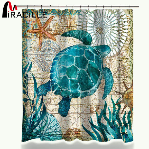 Miracille Sea Turtle Shower Curtain -www.greatdailybargains.com/