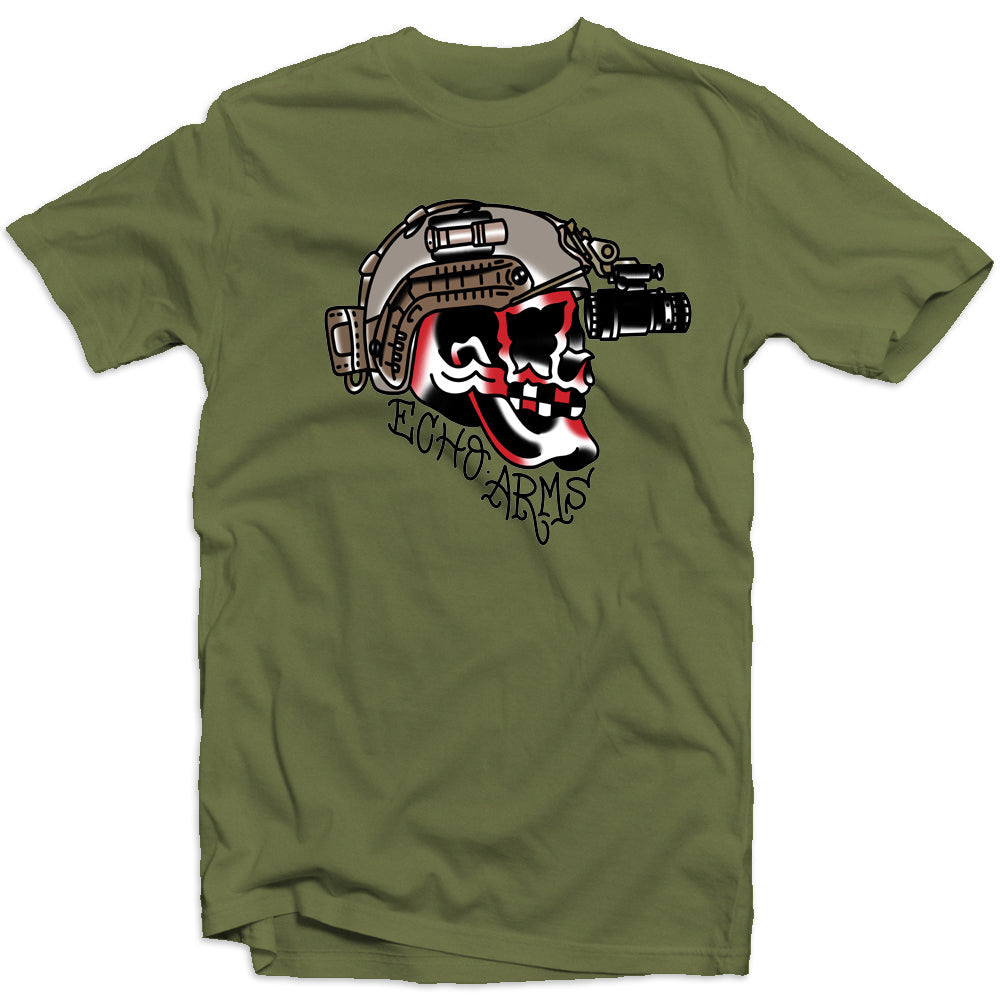 Echo Arms Tattoo Skull Tee - Military Green
