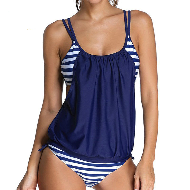 Plus Size Swimwear Striped Printed Swimsuit Tankini Two Piece Swimsuit Bathing Suit