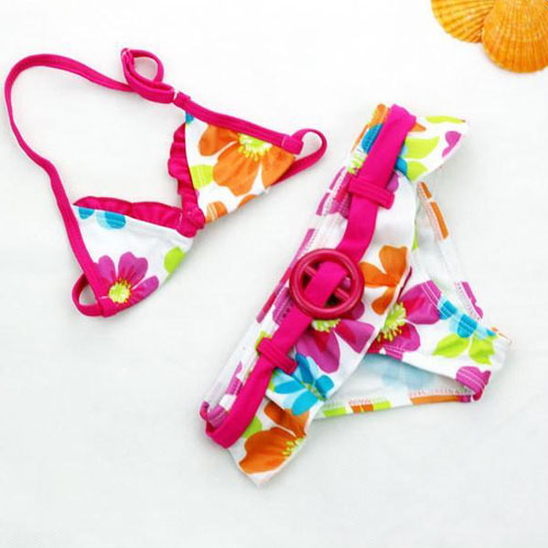 2020 New Summer Girls Cute Flowers Pattern Two-pieces Swimsuit Bikini Set