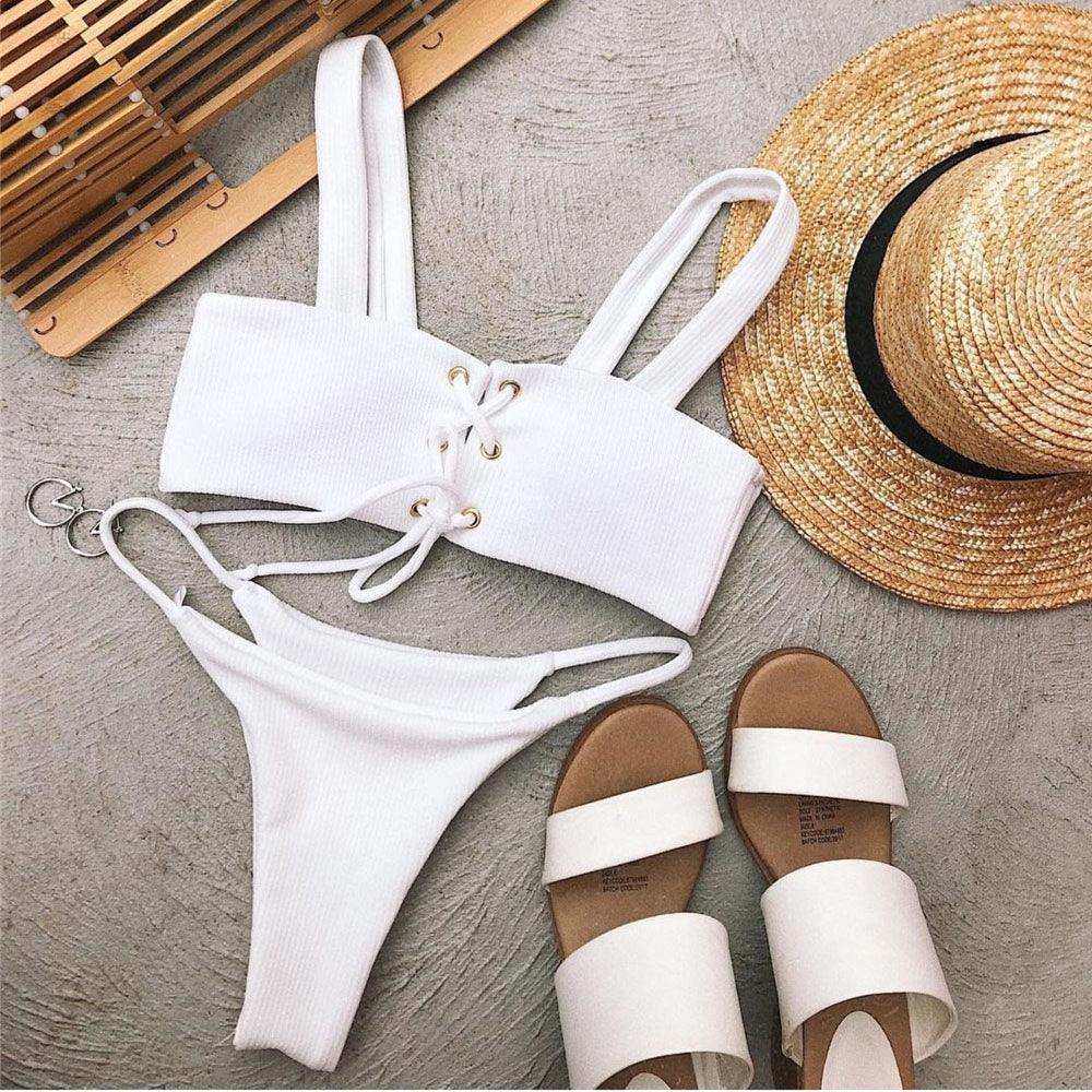 Straps Bikinis Sets Lace-up Swimwear Open Back Bathing Suit Low Waist Triangle Swimsuits