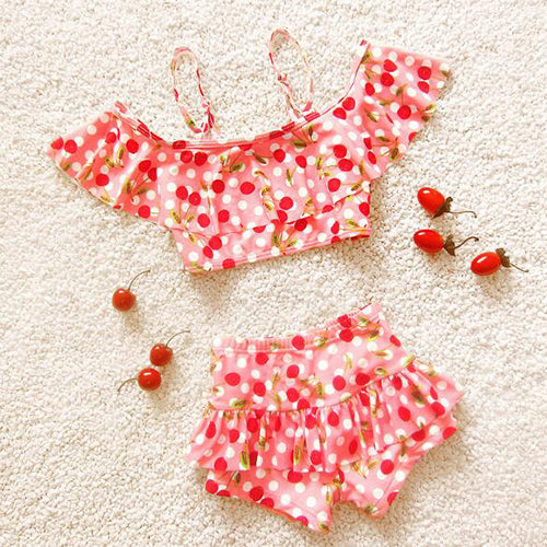 Flounced Two Pieces Bathing Suit Cute Cherry Printed Children Swimwear Spaghetti Strap Off-the-Shoulder Swimsuit