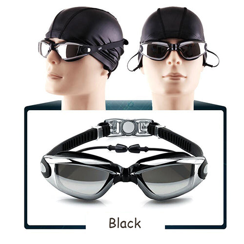 Siamesed Earplugs Goggles Men Women Swim Glasses Waterproof Anti-Fog Adjustable Swimming Eyewear