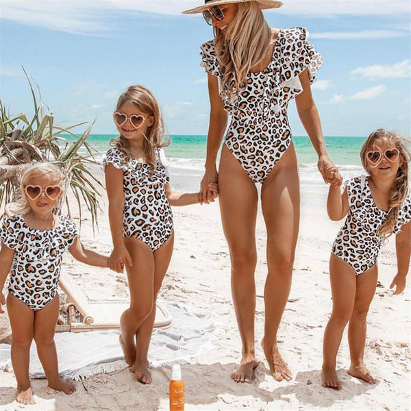 Mother-daughter Ruffled Swimwear Leopard Polka Dot Printed One Piece Bathing Suits