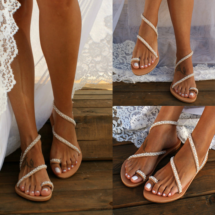 Summer New Toe Sandals Women Flat Pearl Rhinestone Plus Size Beach Shoes