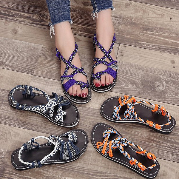 Summer Plus Size Rope Knot Toe Sandals Stitching Color Women Beach Casual Sandals