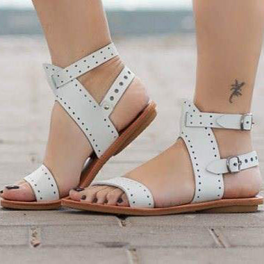 Women Beach Peep Toe Sandals Hollow Stitching Casual Sandals