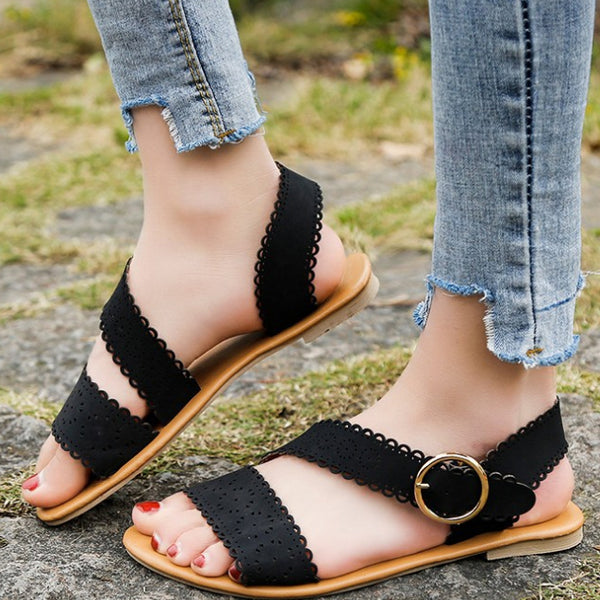 Lace Peep Toe Sandals Women Beach Holiday Flat Sandals