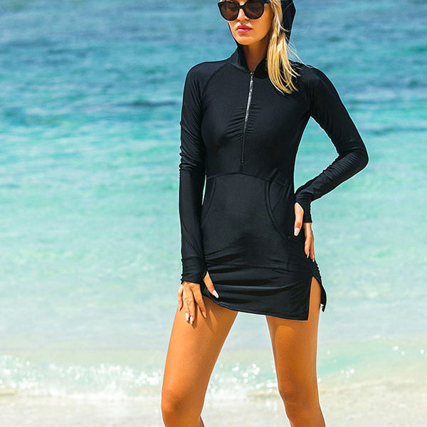 Long Sleeve Hooded One Piece Bathing Suit Pockets Zip Up Swimwear Split Dress Swimsuits