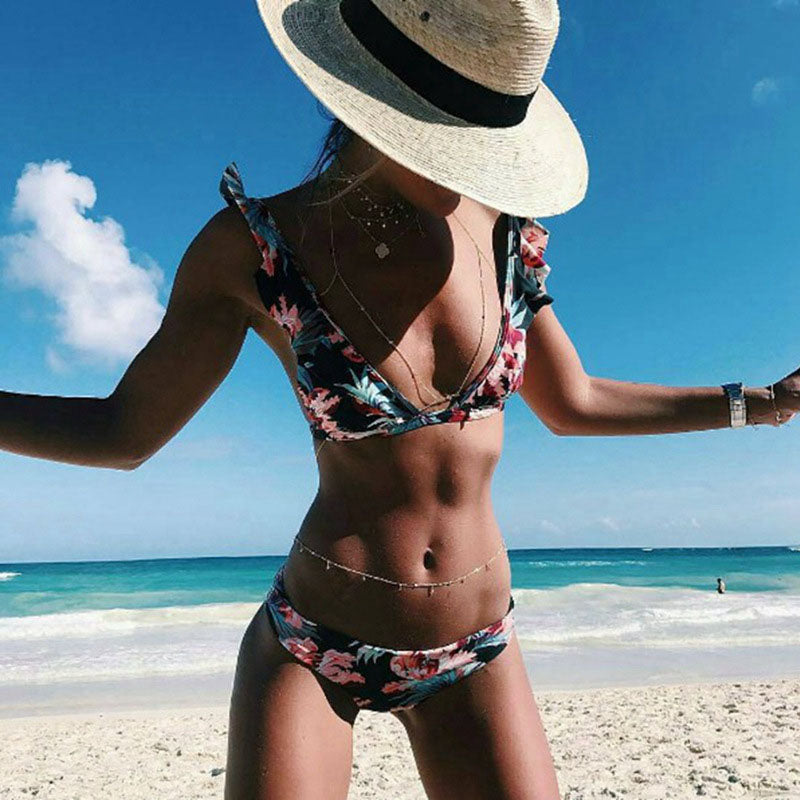 Women Black Bikinis Sets Floral Printed Bathing Suit Flounced Swimwear Backless Low Waist Swimsuits