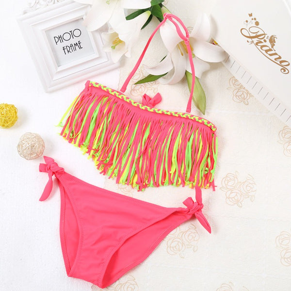 2020 Kids' Swimwear Bathing Suit Two Piece Bikinis Sets Halter Tassel Triangle Swimsuit For Girls