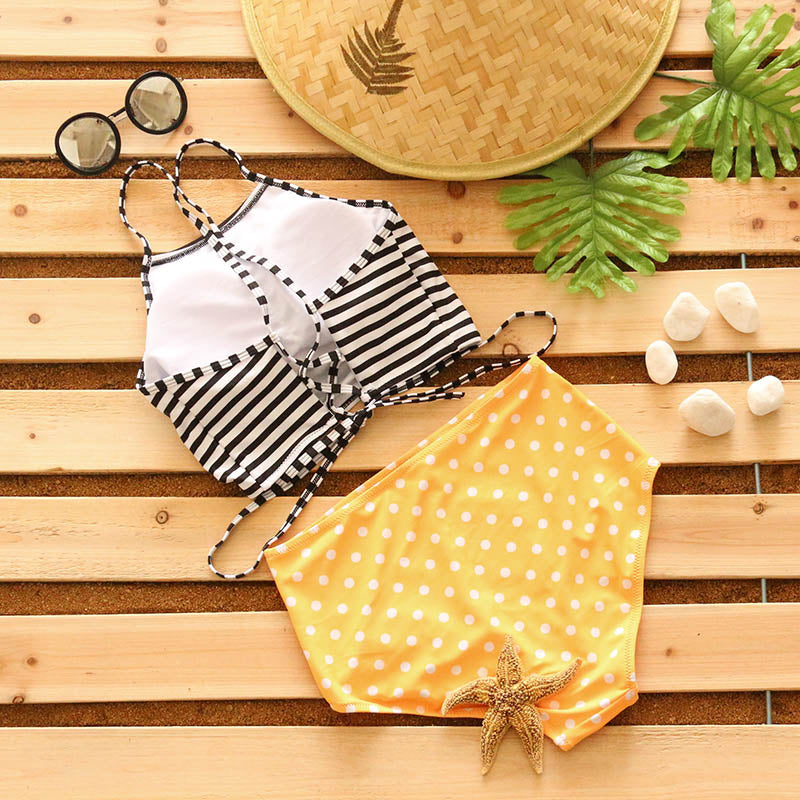 8a9863ce82 Two Piece High Neck High Waist Bathing Suit Bikinis Sets Stripes Polka Dots  Printed Halter Swimsuit