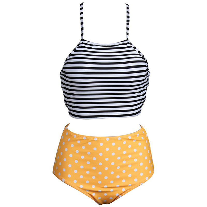 412bcad99b Two Piece High Neck High Waist Bathing Suit Bikinis Sets Stripes Polka Dots  Printed Halter Swimsuit