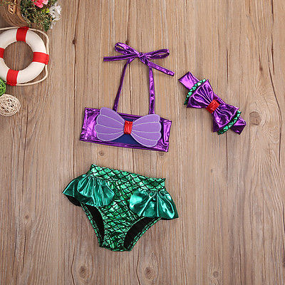 2pcs Set Princess Baby Girls Little Mermaid Bikini Set Bow Swimwear Swimsuit Bathing Suit Costume Baby Girls Clothes