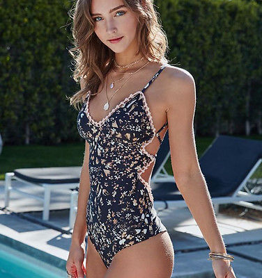Bandage Monokini Black Floral Printed One Piece Swimsuit Halter Backless Swimwear Bathing Suit 2020